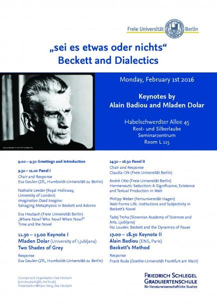 Programm Beckett & Dialectics